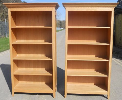 Pair Light Wood Tall Open Bookcases
